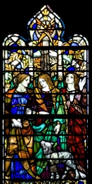 Panel 4, Early Saints: Perpetua and Felicitas, both martyred at Carthage, A.D. 202; Agnes, martyred at Rome, ca. 304. Tom Booth, photographer. Copyright Christ Church Cranbrook 2010.