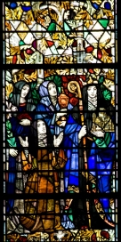 Panel 5, Active in Religious Orders: Teresa(Spanish, 1515-82), founder of the Teresians or Barefooted Carmelites; Catherine of Siena (Italian, 1347-80), a member of the third (lower) order of Dominicans who tended the needy; Hilda (English, 614-82), founder and Abbess of Whitby, famous for her wisdom; Clare, who founded the Poor Clares of Assisi in the XIIIth century. Tom Booth, photographer. Copyright Christ Church Cranbrook 2010.