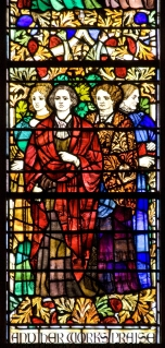 Panel 15, Suffrage Workers: Dolly Madison (1768-1849); Susan Brownell Anthony (American, 1820-1906); Anna Howard Shaw (English-American, 1847-1919); Elizabeth Cady Stanton (American, 1815-1902), who with Lucretia Mott called the first suffrage convention. Tom Booth, photographer. Copyright Christ Church Cranbrook 2010.
