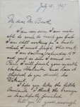 Letter from Mario Korbel to George G. Booth, referencing both his works Atalanta and Andante. George Gough Booth Papers, Cranbrook Archives.