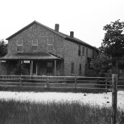 "Abandoned building from the House of David Colony on High Island. Referred to as the ""Main House."" Photo by Robert Hatt. Courtesy Cranbrook Archives."