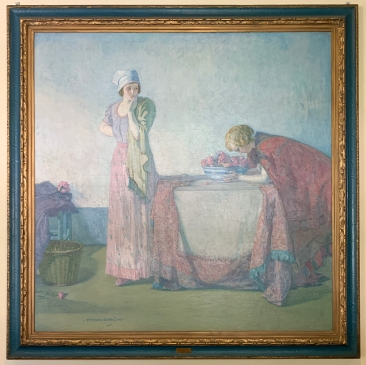 Two Women with a Bowl of Flowers on a Table, circa 1912 by Myron G. Barlow
