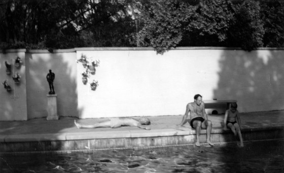 Henry Scripps Booth can be seen soaking up the rays alongside the pool at Thornlea House in the summer of 1964. To his right are son David and grandson Miles.