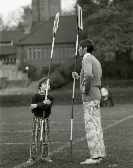 Patrick and Mary Mitchell, son and wife of Academy President Wallace Mitchell, manned the sideline markers.