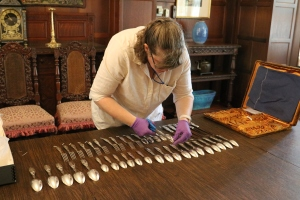Me at work, numbering silverware.