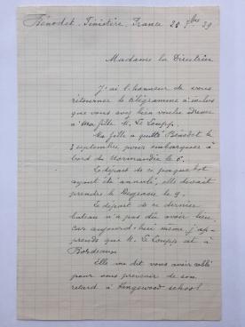 Letter, Mdm LeLoupp to Ms. Augur, September 25, 1939. Cranbrook Archives.