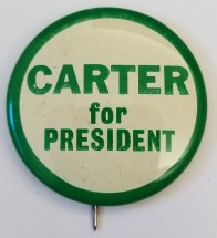 Political campaign button for Jimmy Carter for President, 1976 (SM 2017.708).