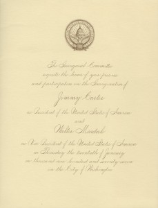 Melvyn and Sara Smith's invitation to the Inauguration of President Jimmy Carter and Walter Mondale, January 20, 1977. Melvyn Maxwell and Sara Evelyn Smith Papers, Cranbrook Archives.