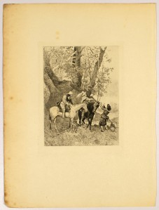 """One of the twenty-one illustrations of """"The Three Musketeers"""" by A. J. Lalauze in the Collection of the Cranbrook Art Museum (CAM 1955.360.15)."""